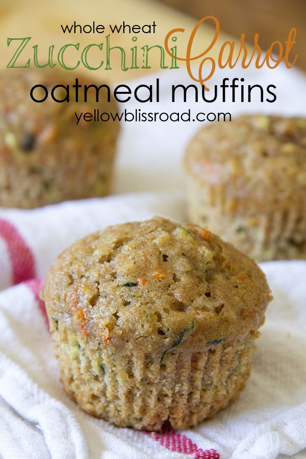 """""""i have these in the oven, before i forget i changed it up. note to all check all ingredients before starting your recipe. i used 2 large eggs and one banana. did not have whole wheat flour, used golden temple flour/bran mix. added pinch of nutmeg, my cup of zucchini was heaping. hope they turn out, they smell yummy."""" Yellow Bliss Road: Zucchini Carrot Oatmeal Muffins"""