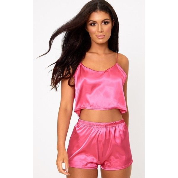 Hot Pink Satin Pyjama Shorts Set ($20) ❤ liked on Polyvore featuring intimates, sleepwear, pajamas, hot pink, satin camisole, sexy cami, satin pajamas, camisole sleepwear and sexy pjs
