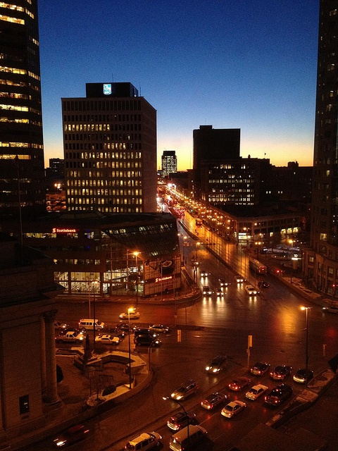Winnipeg, Manitoba, January 2012 - corner of Portage and Main as seen from the Fairmont