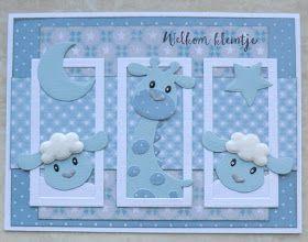 Hallo allemaal, vandaag een baby kaartje met de super schattige beestjes van Eline. Ik blijf ze leuk vinden en voor een baby kaart he...