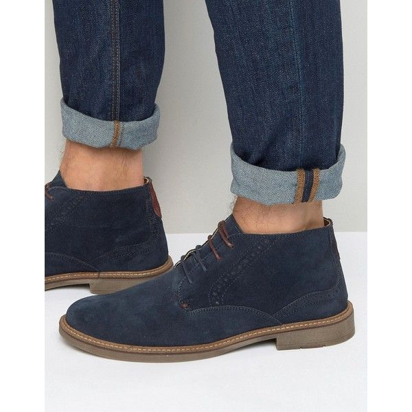 Front Brogue Desert Boots (175 BRL) ❤ liked on Polyvore featuring men's fashion, men's shoes, men's boots, blue, mens suede desert boots, mens round toe cowboy boots, mens brogue boots, mens suede shoes and mens brogue shoes