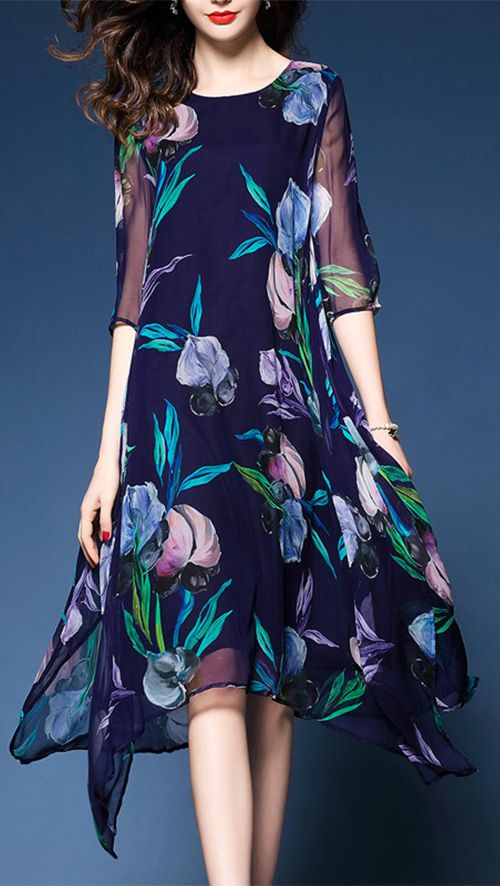 Women's Floral Patterns Plus Size Going out Work Simple Dress
