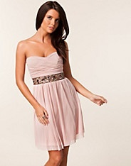 Mesh Strapless Jewel Waist Trim Dress - Elise Ryan - Nude - Party dresses - Clothing - NELLY.COM Fashion on the net