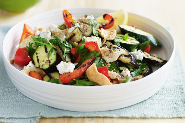 Chargrilled vegetable and pita salad with feta & dukkah main image