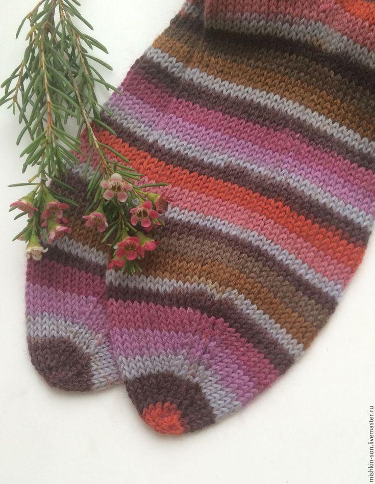 """Купить Носки """"Глинтвейн"""" - в полоску, бордовый, купить подарок, купить носки, вязаные носки"""