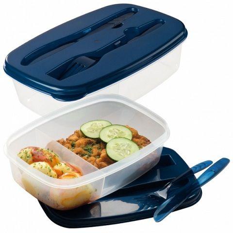 Ételhordó doboz evőeszköz készlettel a tetején. Praktikus kialakítása miatt jól használható ebéd hordáshoz, piknikezéshez, utazáshoz, kempingezéshez, nyaraláshoz is. Az osztott belső rész miatt szétválasztható az étel, így nem keveredik össze a köret, vagy az egyéb hozzávaló, savanyúság, stb.