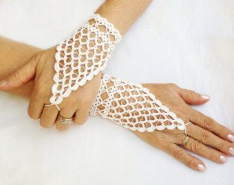 PDF Tutorial  Crochet Pattern,   Fingerless Crochet  Wedding Gloves -1