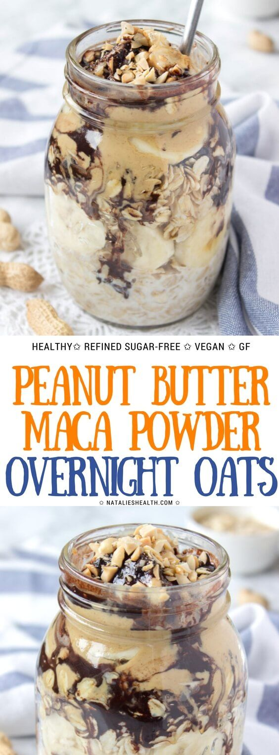 Energizing, creamy and delicious Peanut Butter Maca Overnight Oats, are one amazing breakfast to have. These oats are loaded with dietary fibers and proteins, as well as with some powerful antioxidants from maca and cacao powder. It's super nutritious and satisfying meal that is perfect for busy mornings. ##breakfast #healthyeating #healthyrecipes #oatmeal #peanutbutter #veganfood #veganrecipes #glutenfree #healthyliving #healthylifestyle #chocolate #recipe | NATALIESHEALTH.com