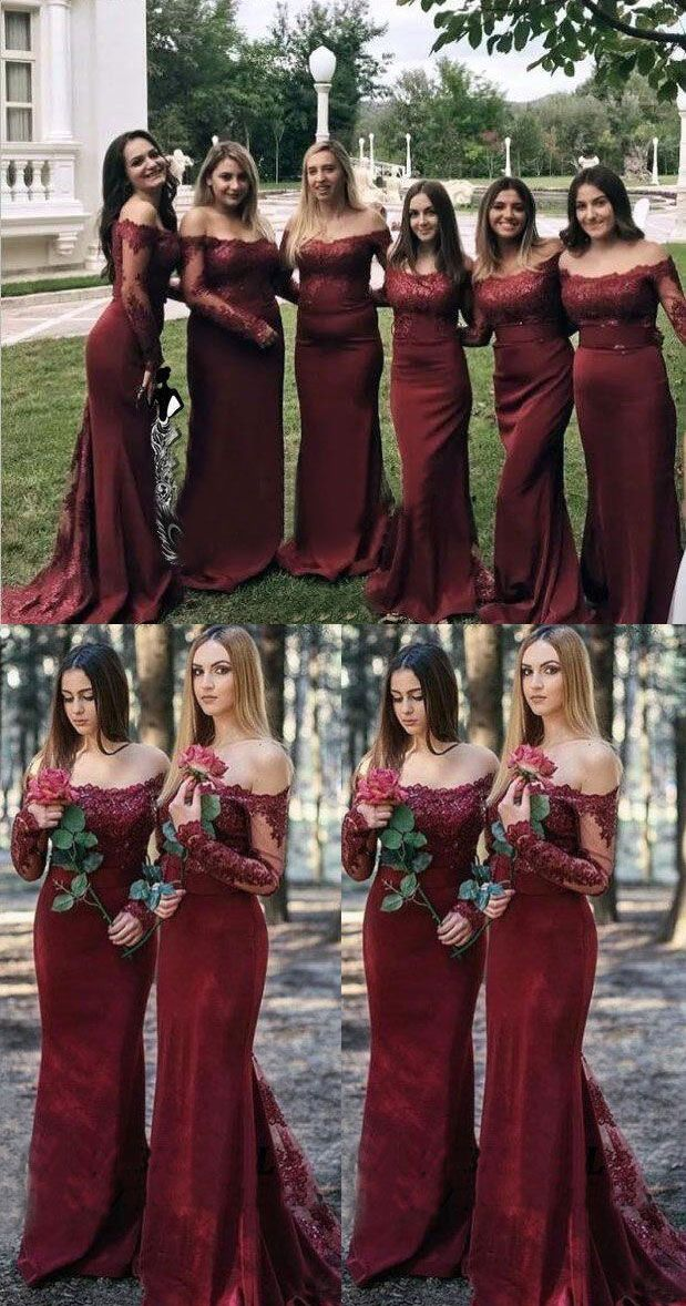 burgundy mermaid long bridesmaid dresses with lace appliques   burgundybridesmaiddresses  burgundy  longbridesmaiddresses   longsleevesbridesmaiddresses   ... 144786a425d7