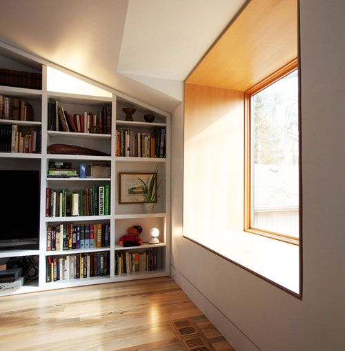 Very deep, wood lined window seat in this Canadian renovation by designers from The Practice of Everyday Design
