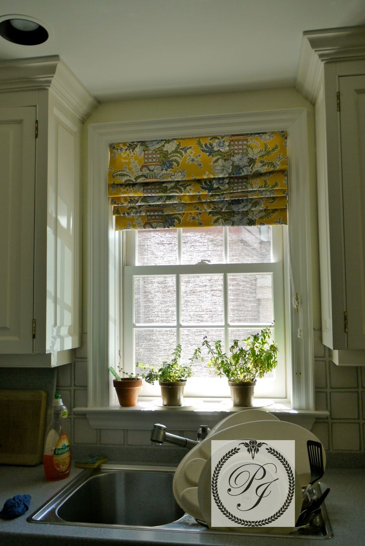 French door curtains blue - Parsons Interiors Designed This Beautiful Roman Blind For A Kitchen In Port Credit Mississauga
