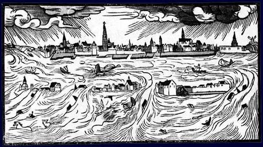 Allerheiligenflut 1570, Zeitgenössisches Flugblatt von Hans Moser