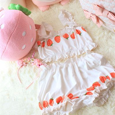 Strawberry cream white cute homewear underwear free shipping