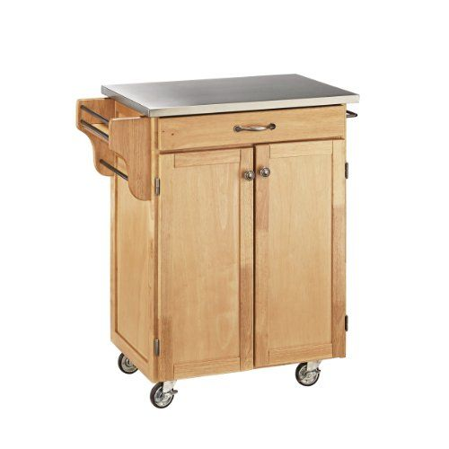 This #home styles 9001 series cuisine kitchen cart is constructed of solid wood, natural Asian hardwood in a natural finish with stainless top and utility drawer...