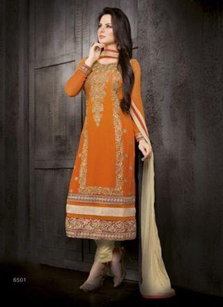 Orange With Cream Embroidery Work Designer Churidar Salwar Suit