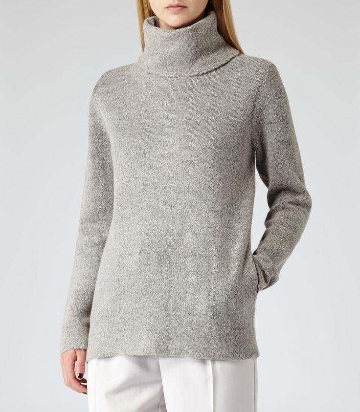 Womens Dove Grey Oversized Roll Neck Jumper - Reiss Sergant