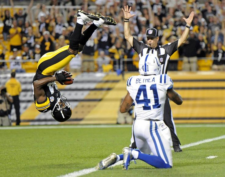 Pittsburgh Steelers wide receiver Antonio Brown (84), left, flips into the end zone over Indianapolis Colts defensive back Antoine Bethea for a touchdown in the first quarter of an NFL preseason game on Sunday, Aug. 19 in Pittsburgh.: Perfect Time Photo, Indianapolis Colts, Football Helmets, Steelers Football, Antonio Brown, Antoniobrown, Steelers National, Pittsburgh Steelers, Sports Pictures