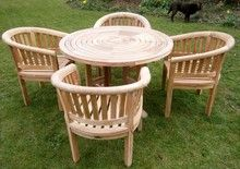 Turnworth 120cm Round Ring Teak Table Set with Banana Arm Chairs