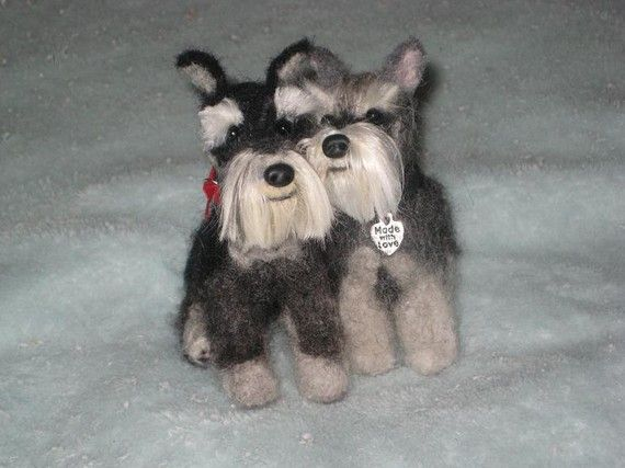 Needle Felted Dog / Custom Pet Portrait Made Just by GourmetFelted, $275.00 I love these two. Just like my Misha ans Bowie.