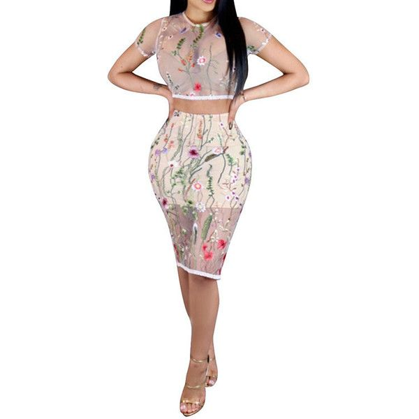Yoins Sexy Embroidered Sheer Floral Crop Top & Midi Skirt Two-piece... ($25) ❤ liked on Polyvore featuring black, high waisted two piece, floral two piece, bodycon two piece and sexy two piece