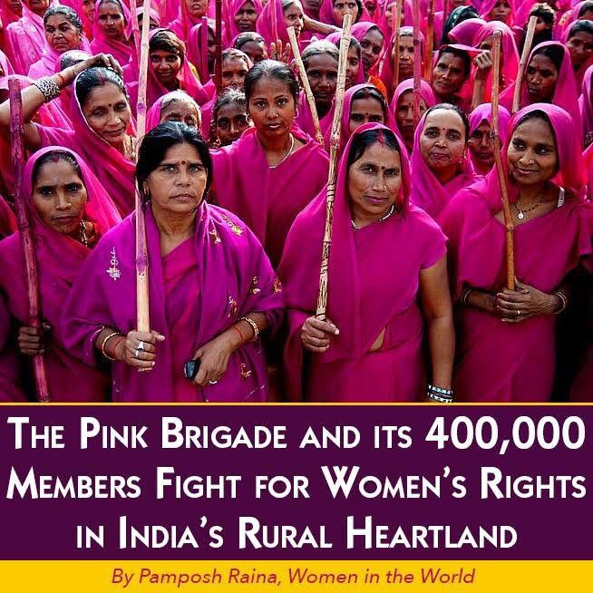 The 400,000 member strong Gulabi Gang or Pink Sari GThe 400,000 member strong Gulabi Gang or Pink Sari Gang -- the all-female grassroots group that fights for women's rights and against corruption in India -- was founded by a woman who was denied the right to go to school as a child. 53-year-old Sampat Pal started the organization, which is named for their official pink sari uniform, to use the mass power of women to force action on violence against women and children.