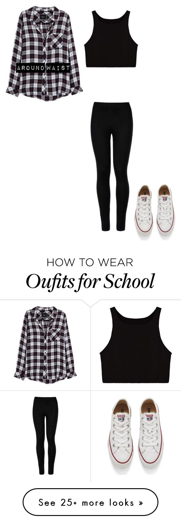 """""""All Black Today: School"""" by jasminista1 on Polyvore featuring Wolford, Rails, Converse, school, black, converse and plaid"""
