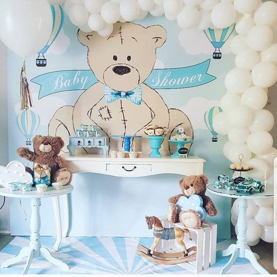 Teddy Baby Shower Backdrop It S A Boy Teddy Bear Birthday
