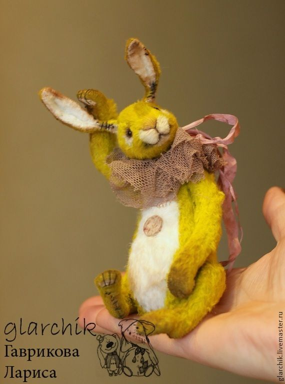 Купить Крольчиха - салатовый, кролик, друзья тедди, авторская игрушка, коллекционная игрушка, миник, вискоза