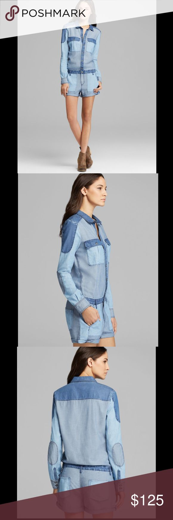 PAIGE Denim Jackson Colorblock Jeans Romper M This is an adorable Paige denim colorblock romper. Worn once and in perfect condition. Size Medium- No trades please  Paige Jeans Other