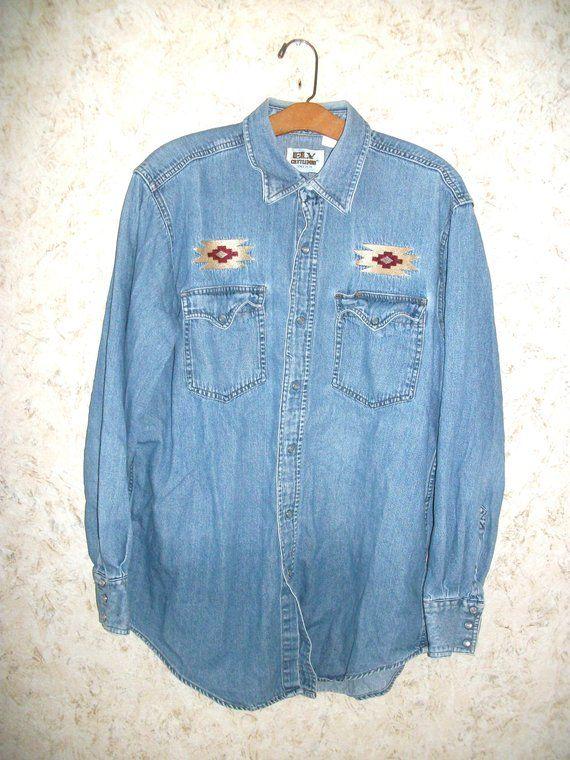 3148635dfd Vintage Ely Cattleman Denim Jean Shirt Pearl Snap Western Embroidered Shirt  Trucker Cowboy 80s 90s Retro Fashion Southwestern Mens XL