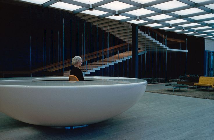 Design Center interior with stair in background, part of the General Motors Technical Center, Warren, Michigan, 1945.