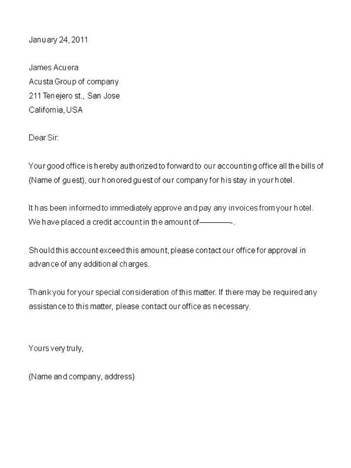 Authorization Letters Sample Format Business Letter Samples