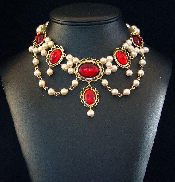 Bijoux de collier médiéval, Renaissance, Tudor collier, bijoux médiévaux, Renaissance, Lady Emma U Pick couleurs
