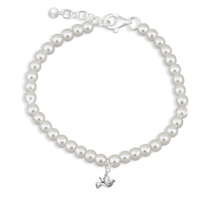 Dove of Peace Pearl Bracelet -  An elegant keepsake bracelet crafted with flawless pure white 6mm Swarovski pearl adorned with a dainty pearl drop and an elegant Dove of Peace charm. Finished with a sterling silver clasp. Dove of Peace Pearl Bracelet will make a very special gift for 1st Holy Communion, Confirmation or as a token of love on a special occasion.