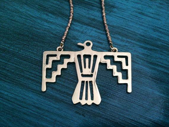 Gold Thunderbird Necklace Native American by Jordanlynnsgems
