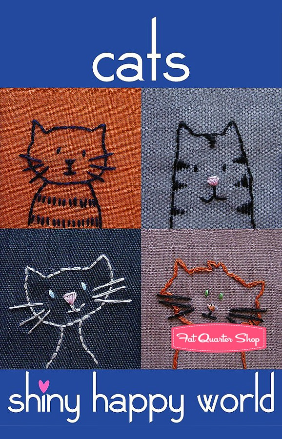 Cats Downloadable PDF Embroidery Pattern Shiny Happy World - Fat Quarter Shop