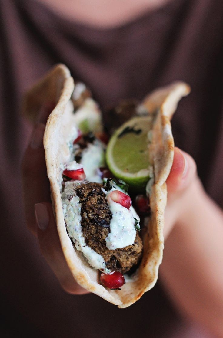 Spicy Eggplant Balls with Minty Yogurt Wrap.  Just use almond flour instead of breadcrumbs.