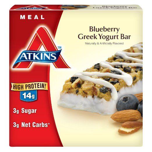 Аткинс Питание Бар, голубики греческий йогурт, 1.7oz Бар, 5 граф