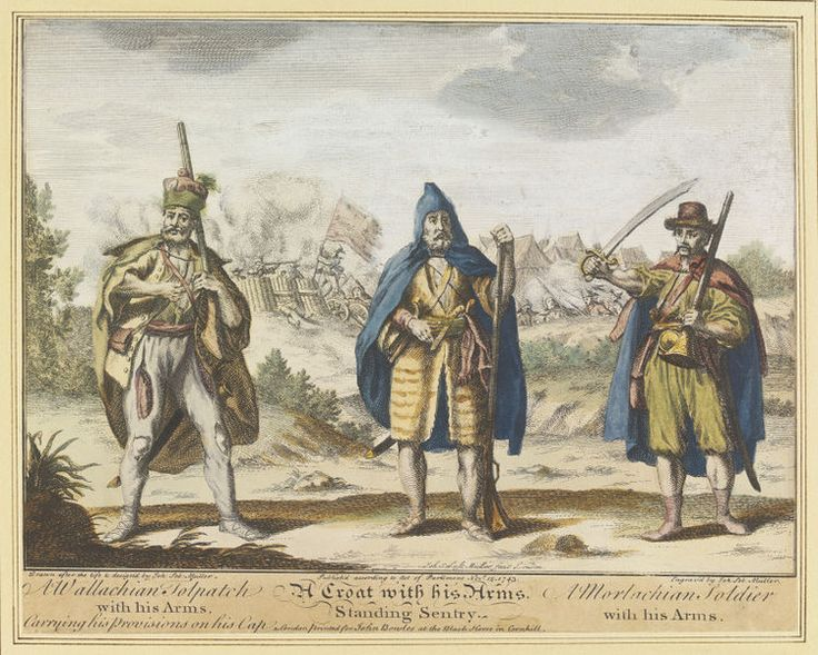 A Wallachian Tolpatch with his Arms. A Croat with his Arms, Standing Sentry. A Morlachian Soldier with his Arms. | Johann Sebastian Müller | V&A Search the Collections