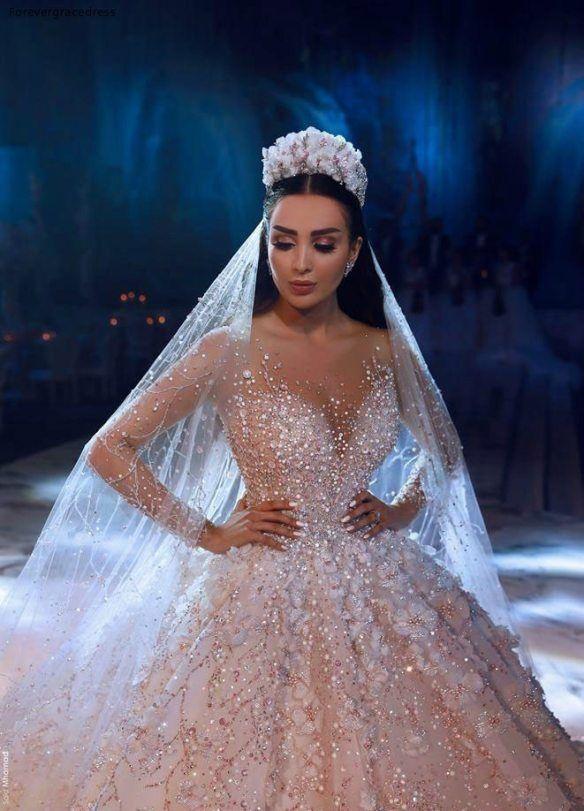 2019 Princess Luxury Wedding Dress African Arabic Dubai Long Sleeve Beading Church Formal Bride Bridal Gown Plus Size In 2020 Sheer Wedding Dress Amazing Wedding Dress Luxury Wedding Dress