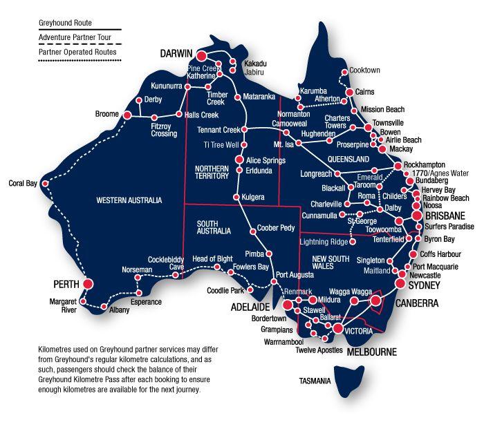 Greyhound Australia Network Map