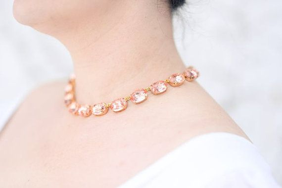 Blush Pink Statement Necklace. Georgian Collet Necklace, Pink Paste Rhinestones. Light Pink, Rosaline. Anna Wintour, Regency, 18th Century