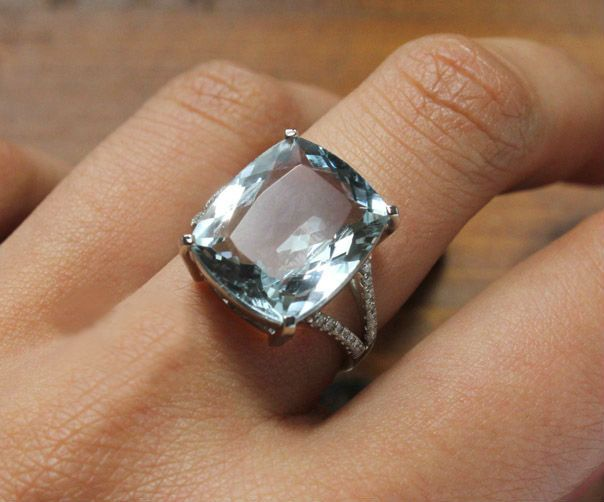 4 Carat Aquamarine Engagement Ring Diamonds 14k White