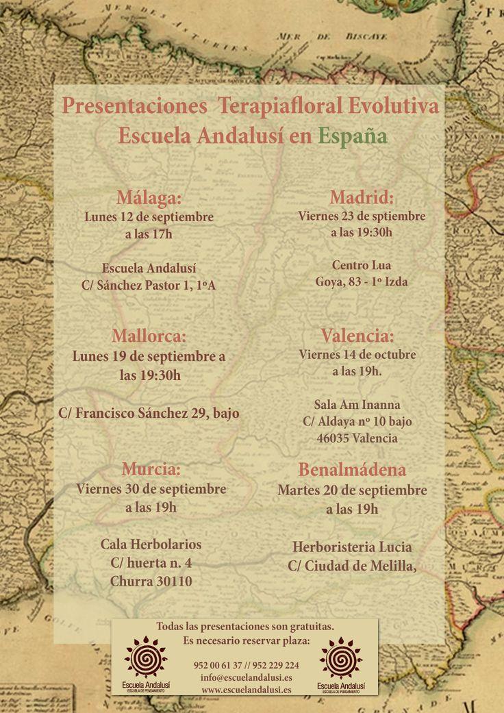 Presentaciones de la Terapiafloral Evolutiva de la Escuela Andalusí en España.  http://www.escuelandalusi.es/presentaciones-tfe-escuela-andalusi-espana-201617/