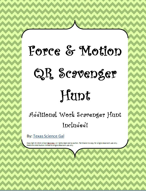 This can double as a scavenger hunt for an in class activity or as homework with the literature already provided. It's a bundle of a Force and Motion worksheet along with an additional Force and Work worksheet. The QR codes can keep students active and engaged while the content keeps them learning!
