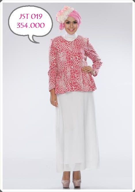 cantiknya mix n match dress putih dengan jas peplum pink motif , yukk order sist