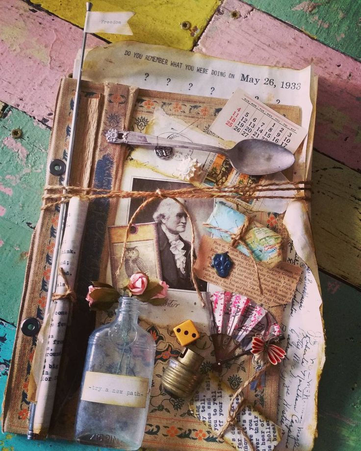 """26 Likes, 2 Comments - Katiesvintagerose """"Honolulu"""" (@katiesvintagerose) on Instagram: """"Having fun putting this mix media cover together. Antenna slides up and down. #junkjournals…"""""""