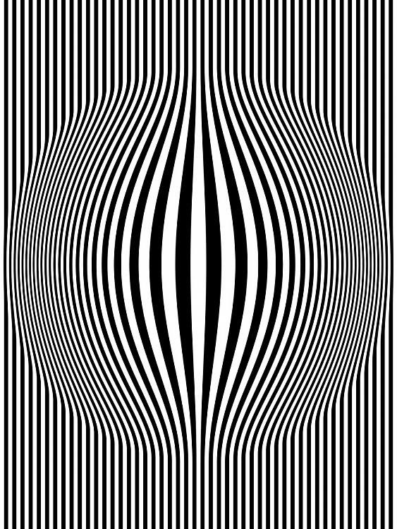 O is for Op Art. Op Art Bulging Vertical Stripes Black and White One