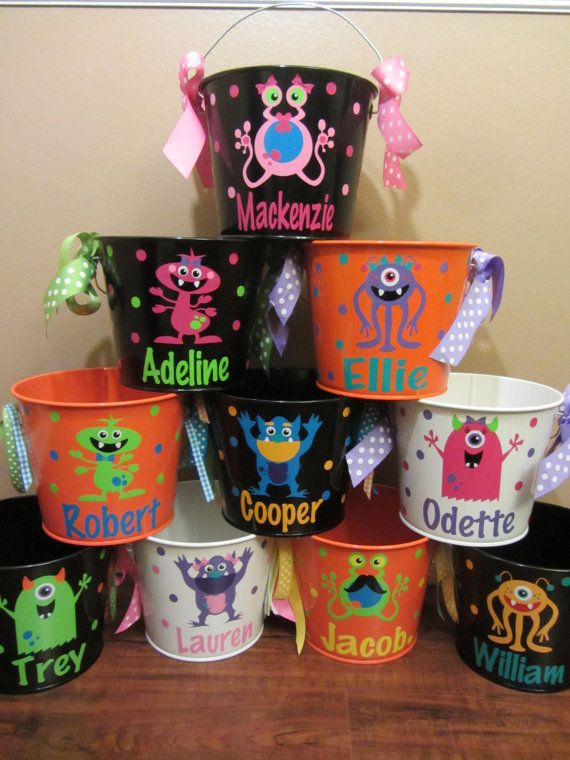 Halloween monster bucket: Personalized Halloween by DottedDesigns