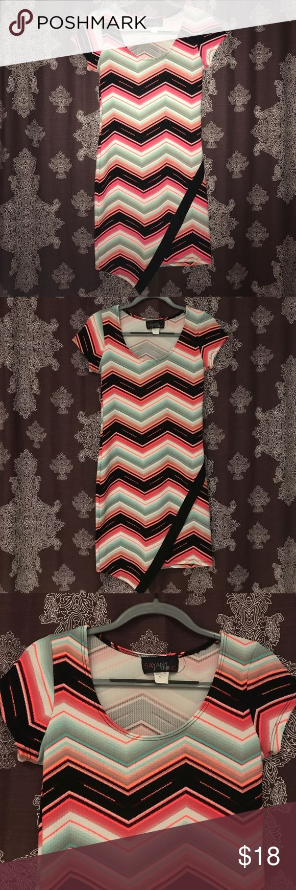 Asymmetrical Neon Striped Chevron Dress size M Super cute for going out, the club, or a party! Excellent condition. Neon and Pastel Chevron striped pattern and asymmetrical hem. Size medium. Say Anything Dresses Asymmetrical